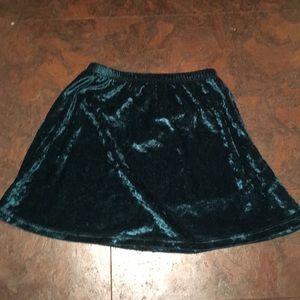 Faux green crush velvet skirt